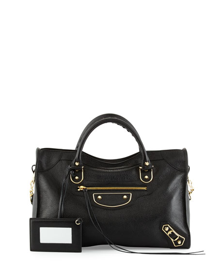 BalenciagaMetallic Edge Golden City Bag, Black