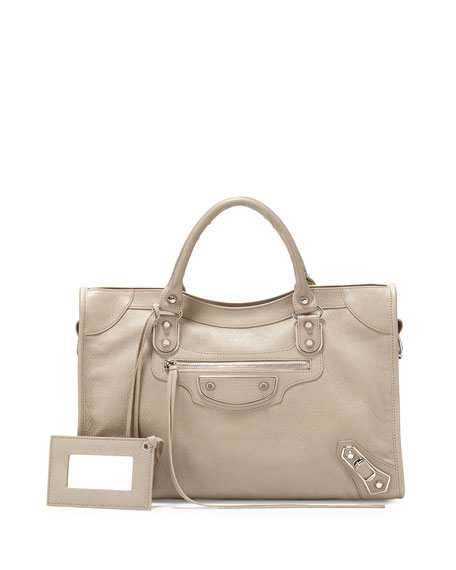 Balenciaga Metallic Edge Nickel City Bag, Taupe