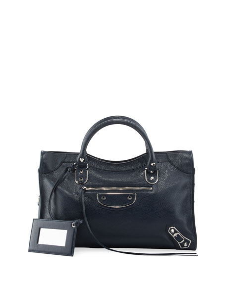 Balenciaga Metallic Edge Nickel City Bag, Royal Blue