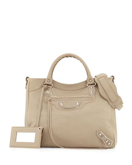 Balenciaga Metallic Edge Nickel Velo AJ Bag, Taupe