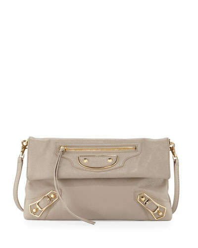 Metallic Edge Envelope Crossbody Bag, Beige