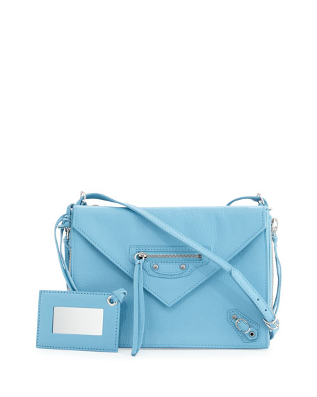 Balenciaga Paper Zip-Around Triple Bag, Bright Blue