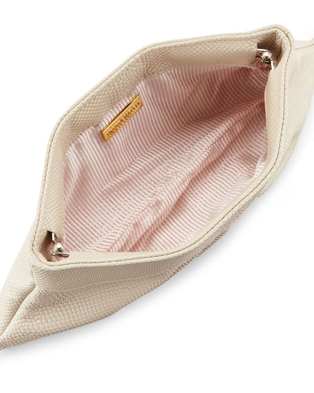 Louise Snake-Embossed Leather Clutch Bag, Cream