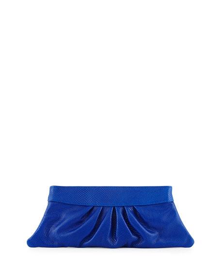 Lauren Merkin Louise Snake-Embossed Leather Clutch Bag, Electric Blue
