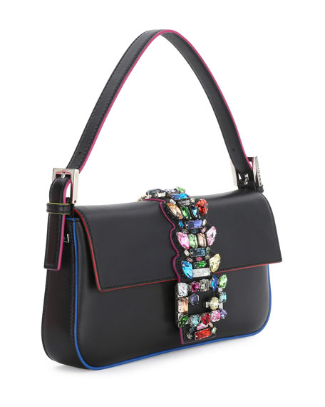 Baguette Medium Calfskin Bag w/Crystal Strap, Black Multi