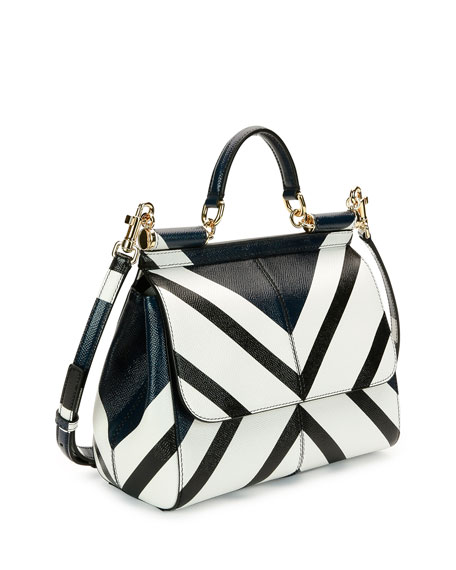 Miss Sicily Medium Geo-Stripe Satchel Bag, Dark Blue/White