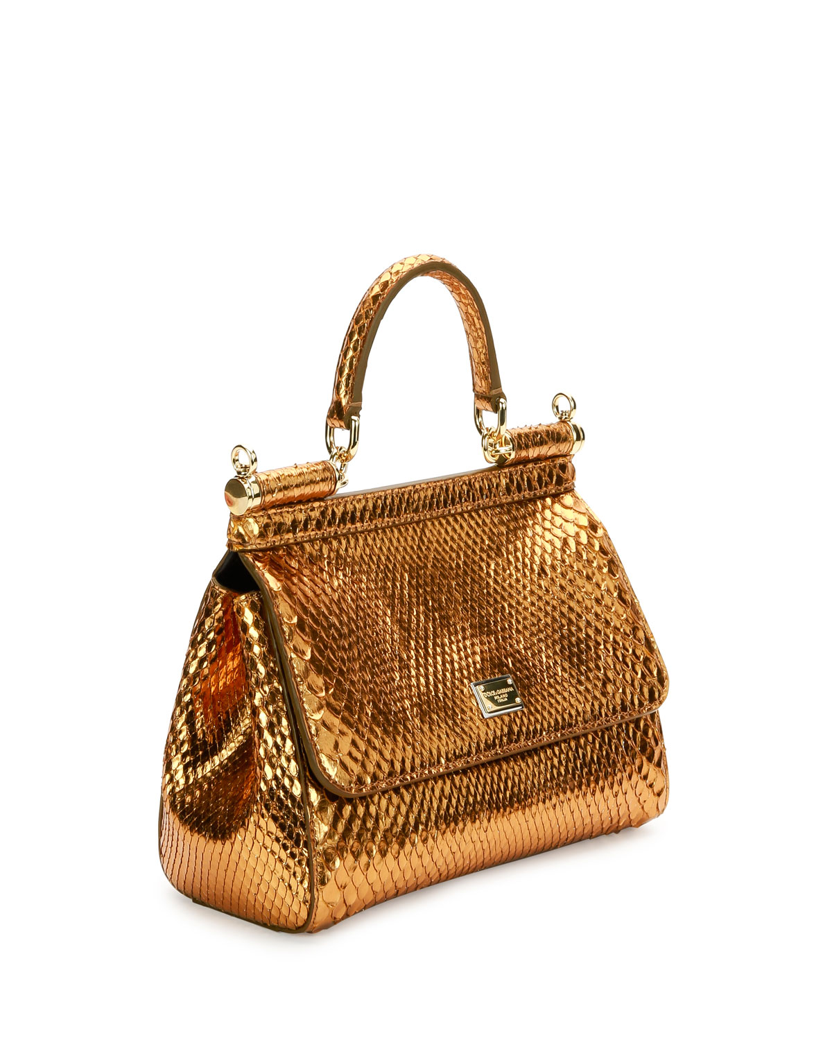 Dolce Gabbana Miss Sicily Small Metallic Python Satchel Bag Gold Neiman Marcus