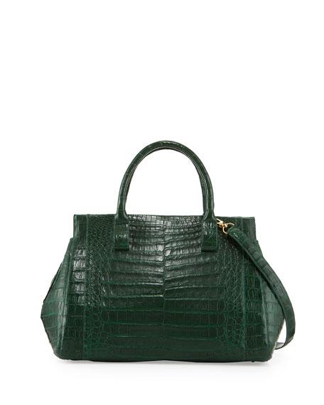 Nancy Gonzalez Loop Crocodile Medium Satchel Bag, Green