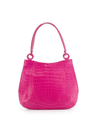 Small Crocodile Hobo Bag, Pink Matte