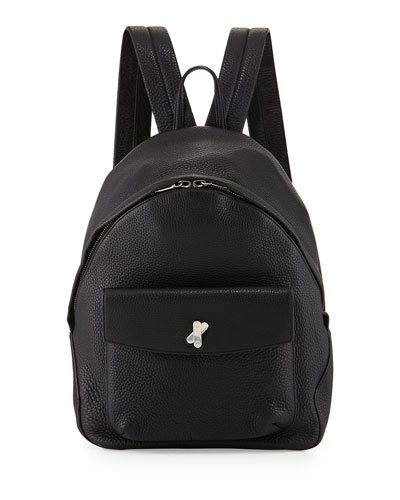 Icon Pebbled Leather Backpack, Black