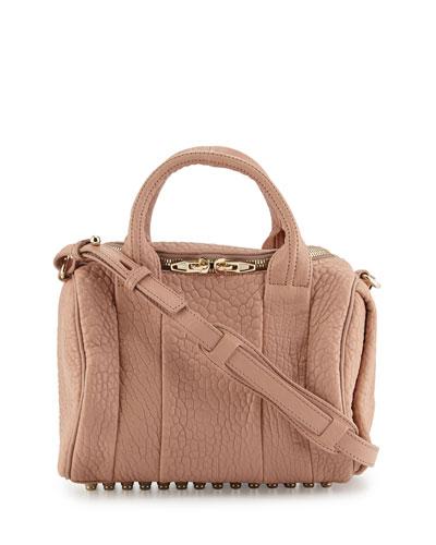 Rockie Calfskin Duffel Satchel Bag, Blush