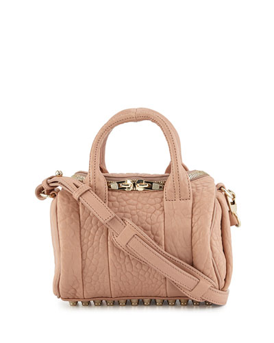 Rockie Mini Pebbled Satchel Bag, Blush