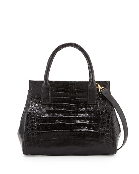 Nancy GonzalezLoop Crocodile Small Satchel Bag, Black Shiny