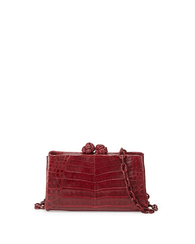 Crocodile Knotted Clutch Bag, Red Shiny