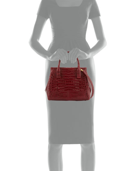 Image 3 of 3: Loop Crocodile Small Satchel Bag, Red Shiny