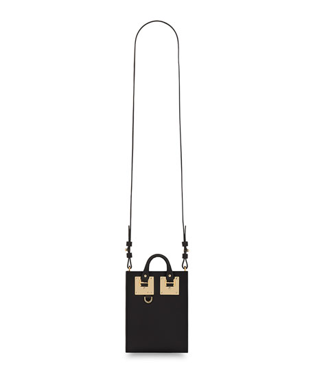 Nano Albion Leather Crossbody Bag, Black