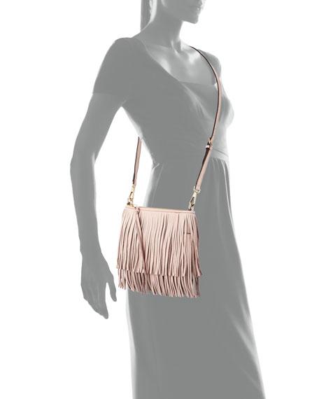 Finn Leather Fringe Crossbody Bag, Baby Pink