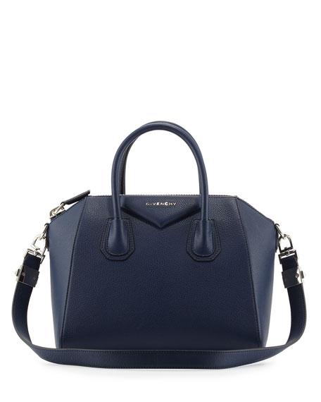 Givenchy Antigona Small Goatskin Satchel Bag, Deep Blue | Neiman ...