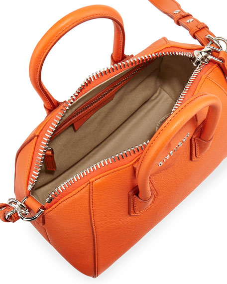 Antigona Mini Goatskin Satchel Bag, Orange