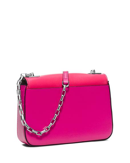 Gia Small Chain-Strap Flap Bag, Geranium