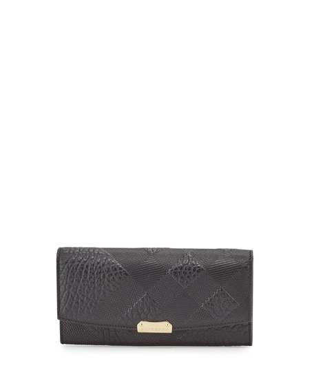 Burberry Porter Small Grain Check Wallet, Black