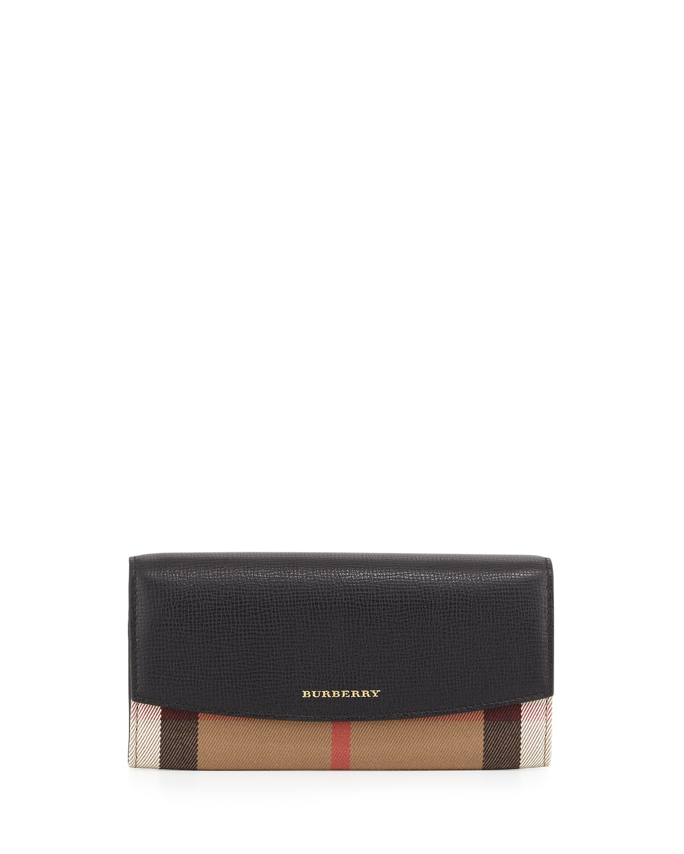 719cd1ce545e Burberry Porter Horseferry Check Leather Flap Wallet, Black | Neiman ...