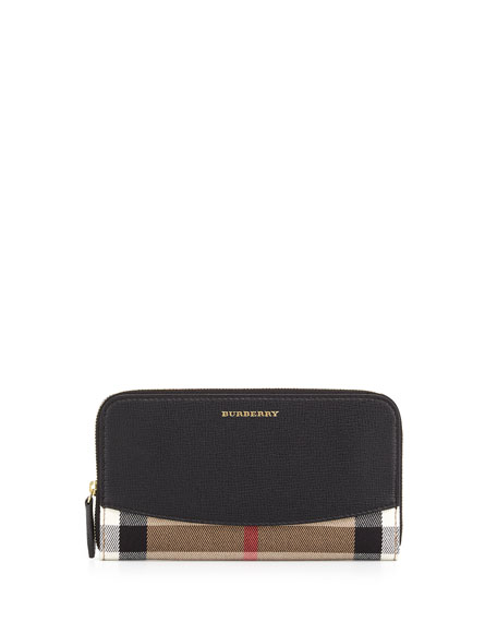 Burberry Elmore House Check Derby Wallet, Black