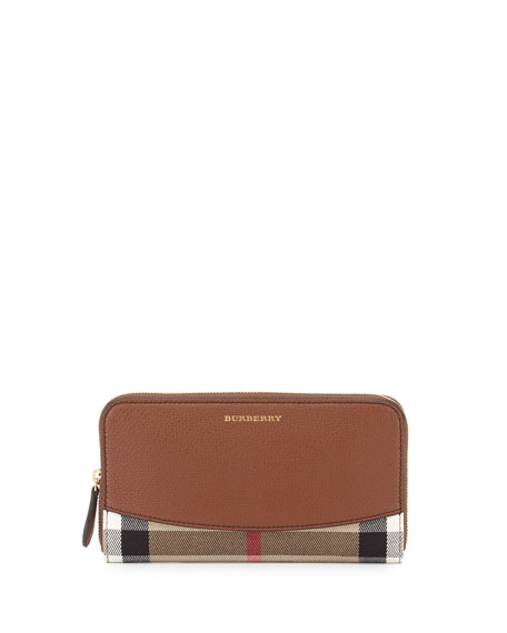 Burberry Elmore House Check Derby Wallet, Brown Ochre