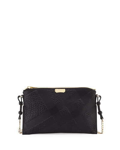 Peyton Check Leather Crossbody Bag, Black