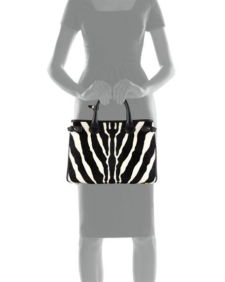 Burberry Banner Medium Animal-Print Calf Hair Tote Bag