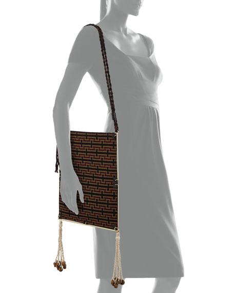 Wire Frame Crocodile-Embossed Boho Bag, Black/Multi