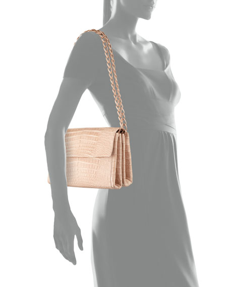 Medium Crocodile Flap Shoulder Bag, Nude Matte