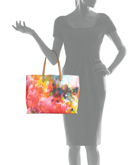 Image 3 of 3: Kerrington Watercolor Floral Tote Bag