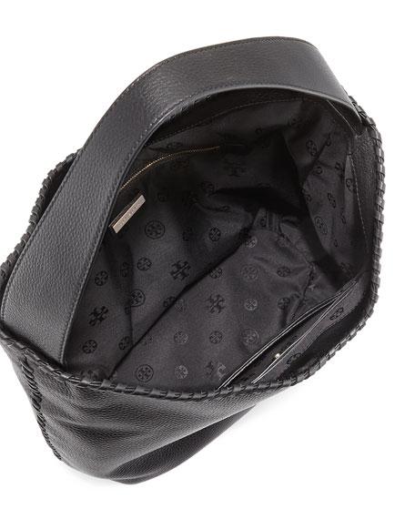 Tory Burch Marion Hobo Bag w/Whipstitch Trim, Black