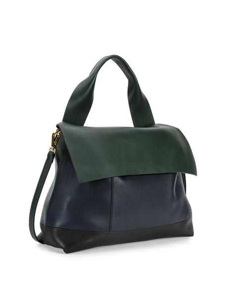 Marni Colorblock Satchel Bag w/Strap, Navy/Green/Black