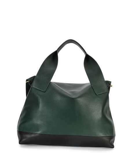 Colorblock Satchel Bag w/Strap, Navy/Green/Black