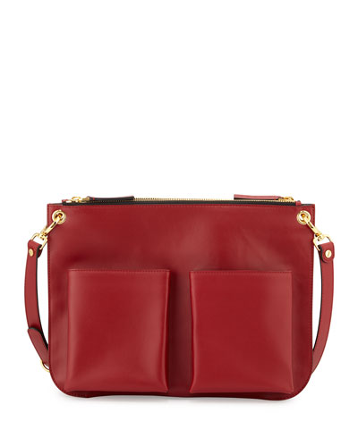Bandoleer Front-Pocket Shoulder Bag, Red