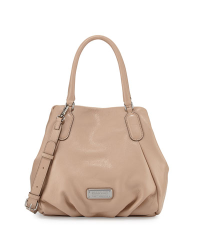 New Q Fran Leather Tote Bag, Cameo Nude
