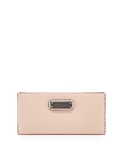 New Q Tomoko Leather Wallet, Pearl Blush