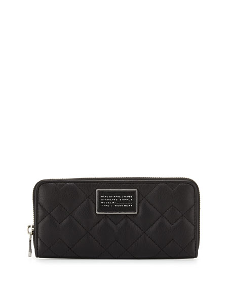 MARC by Marc Jacobs New Crosby Quilted Slim Zip-Around Wallet, Black : marc jacobs quilted wallet - Adamdwight.com