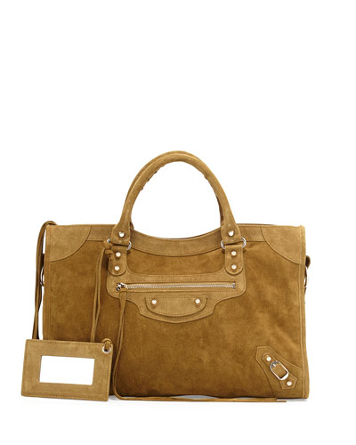 Classic City Suede Tote Bag, Beige