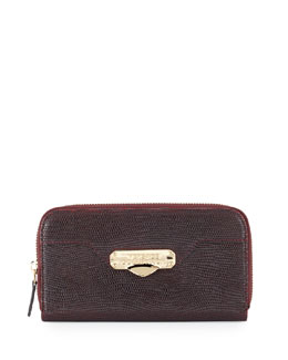 Stamped-Leather Zip-Around Wallet, Bordeaux/Black