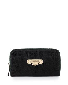 Stamped-Leather Zip-Around Wallet, Green
