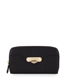 Pebbled-Leather Zip-Around Wallet, Black