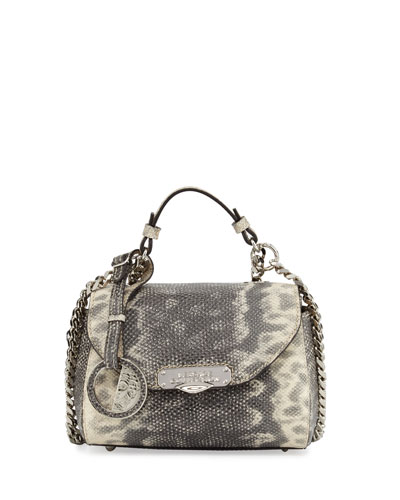 Embossed-Leather Zip-Around Wallet, Gray/Tan