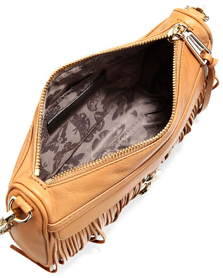 Mini MAC Fringe Clutch Bag, Cuoio