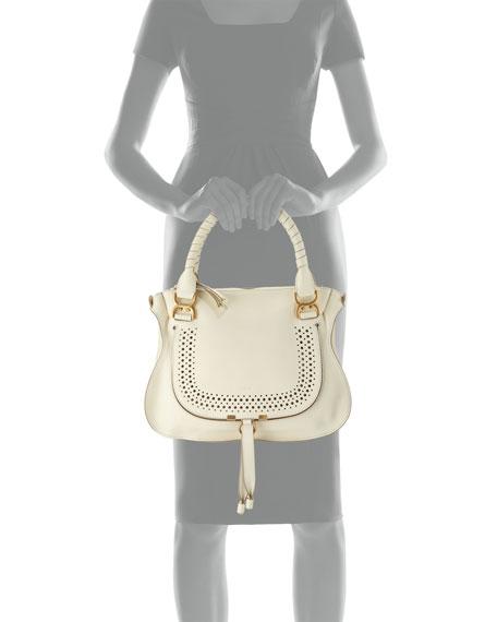 see by chloe purses - Chloe Marcie Medium Perforated Satchel Bag, White