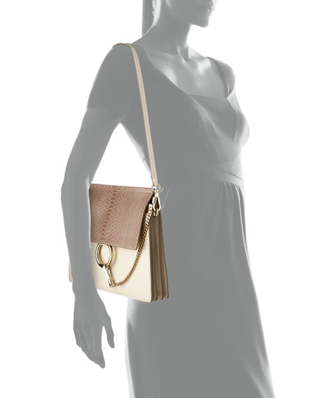 Chloe Faye Medium Python/Leather Shoulder Bag, Off White