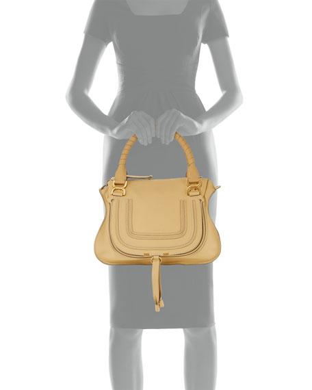 Marcie Medium Leather Satchel Bag, Eggshell
