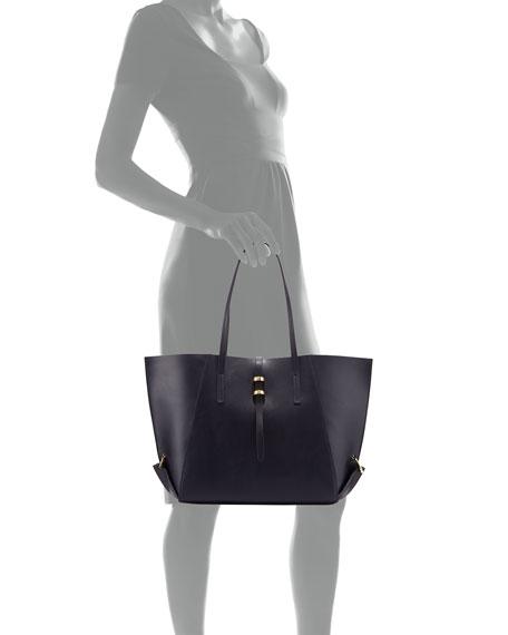 Eartha Mini Folded-Gusset Leather Shopper Tote, Ocean